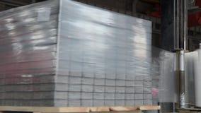 Κεραμίδια που συσσωρεύονται στις παλέτες Πλάκες επίστρωσης αποθηκών εμπορευμάτων στο εργοστάσιο για την παραγωγή του Συσκευάζοντα απόθεμα βίντεο