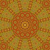Κεραμίδι επίδρασης Mandala arabesque στο ocher, το χρυσό ασβέστη, το butterum και τα πράσινα χρώματα Στοκ Φωτογραφία