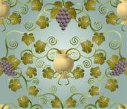 κεραμίδι σταφυλιών σχεδί& Στοκ φωτογραφία με δικαίωμα ελεύθερης χρήσης