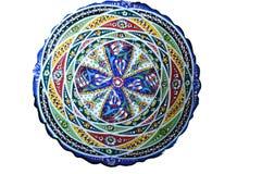 Κεραμικά αυθεντικά πιάτα με το αφηρημένο σχέδιο Arabesque, mandala η ανασκόπηση απομόνωσε το λευκό Στοκ εικόνες με δικαίωμα ελεύθερης χρήσης