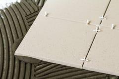 Κεραμικά κεραμίδια και εργαλεία για tiler Εγκατάσταση κεραμιδιών πατωμάτων Εγχώρια βελτίωση, ανακαίνιση - κόλλα πατωμάτων κεραμικ Στοκ εικόνα με δικαίωμα ελεύθερης χρήσης