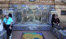 Κεραμικά azulejos Plaza de Espana, Σεβίλη, Ανδαλουσία, Ισπανία Στοκ Εικόνες