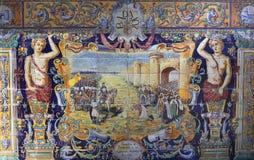 Κεραμικά azulejos Plaza de Espana, Σεβίλη, Ανδαλουσία, Ισπανία Στοκ εικόνες με δικαίωμα ελεύθερης χρήσης
