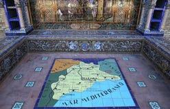 Κεραμικά azulejos Plaza de Espana, Σεβίλη, Ανδαλουσία, Ισπανία Στοκ εικόνα με δικαίωμα ελεύθερης χρήσης