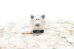 Κεραμικά piggy τράπεζα και χρήματα Στοκ φωτογραφίες με δικαίωμα ελεύθερης χρήσης