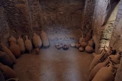 Κεραμικές κανάτες στην Πομπηία στοκ εικόνες
