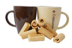 κεραμικές κούπες καφέ Στοκ εικόνες με δικαίωμα ελεύθερης χρήσης