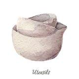 Κεραμική απεικόνιση watercolor κύπελλων στην άσπρη σειρά εργαλείων κουζινών Στοκ Εικόνες