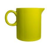 Κεραμική κούπα με σωλήνες για το γάλα πράσινο Στοκ Εικόνες