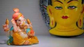 Κεραμική μάσκα budha αγαλμάτων ganesha απόθεμα βίντεο