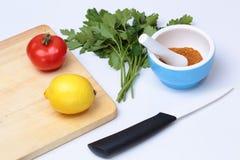 Κεραμικό μαχαίρι, λεμόνι, ντομάτα, χορτάρια, κονίαμα με τα καρυκεύματα. διανυσματική απεικόνιση