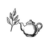 Κεραμικό teapot με τα φύλλα τσαγιού Στοκ Φωτογραφίες