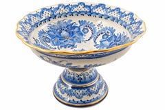 κεραμικό vase ζωγραφικής gzhel Στοκ εικόνα με δικαίωμα ελεύθερης χρήσης