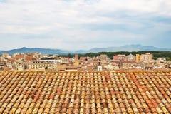 Κεραμωμένες στέγες Girona, Καταλωνία Στοκ Εικόνες