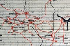 Κεραμωμένος χάρτης σιδηροδρόμων Lancashire και του Γιορκσάιρ στοκ εικόνες με δικαίωμα ελεύθερης χρήσης