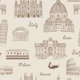 Κεραμωμένο ταξίδι υπόβαθρο Άνευ ραφής σχέδιο ορόσημων της Ιταλίας διάσημο Διανυσματική απεικόνιση
