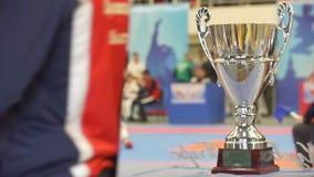 Κερδίστε το κύπελλο μπροστά από την πάλη karate στα πρωταθλήματα, χοίρος-κίνηση απόθεμα βίντεο