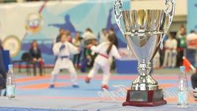 Κερδίστε το κύπελλο μπροστά από την πάλη karate στα πρωταθλήματα απόθεμα βίντεο