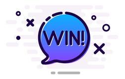 Κερδίστε το σημάδι με την μπλε λεκτική φυσαλίδα κινούμενων σχεδίων απεικόνιση αποθεμάτων
