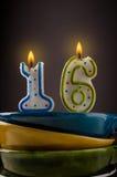 Κεριά γενεθλίων με δέκα έξι Στοκ Εικόνες