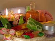 Κεριά και αρωματικά σαπούνια Στοκ Φωτογραφίες