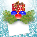 Κεριά και κιβώτιο δώρων. διανυσματική απεικόνιση