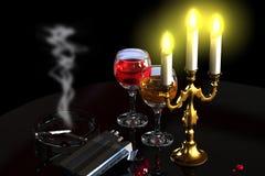 Κεριά, κρασί και τσιγάρα διανυσματική απεικόνιση
