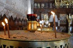 Κεριά προσευχής στο μοναστήρι Arkadi Στοκ Φωτογραφίες