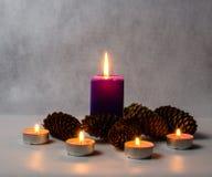 Κεριά των διαφορετικών μεγεθών και των χρωμάτων, και κώνοι Στοκ φωτογραφίες με δικαίωμα ελεύθερης χρήσης