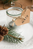 Κεριά Χριστουγέννων Eco για το γεύμα Στοκ φωτογραφία με δικαίωμα ελεύθερης χρήσης