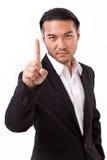 Κερδίζοντας επιχειρηματίας που αυξάνει το αριθ. 1 χειρονομία χεριών Στοκ Εικόνες