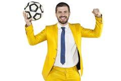 Κερδίστε στο ποδοσφαιρικό παιχνίδι που γιορτάζεται από το διευθυντή Στοκ Φωτογραφία