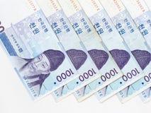 1000 κερδημένος νοτιοκορεατικός λογαριασμός Στοκ φωτογραφίες με δικαίωμα ελεύθερης χρήσης