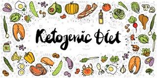 Κετονογενετική απεικόνιση εμβλημάτων σκίτσων διατροφής διανυσματική Υγιή keto τρόφιμα με τη σύσταση και τα διακοσμητικά στοιχεία  ελεύθερη απεικόνιση δικαιώματος