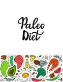 Κετονογενετική διατροφή Έμβλημα διατροφής Paleo με τα οργανικά λαχανικά, τα καρύδια και άλλα υγιή τρόφιμα Χαμηλό να κάνει δίαιτα  διανυσματική απεικόνιση