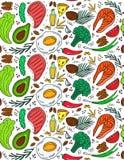 Κετονογενετικό συμένος σχεδίων διατροφής άνευ ραφής υπό εξέταση doodle ύφος Χαμηλό να κάνει δίαιτα εξαερωτήρων Διατροφή Paleo Ket ελεύθερη απεικόνιση δικαιώματος