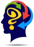 Κεφάλι ατόμων με το ερωτηματικό και τα βέλη ελεύθερη απεικόνιση δικαιώματος