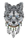 Κεφάλι λύκων με catcher ονείρου Στοκ Φωτογραφία