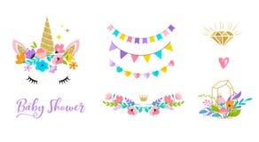 Κεφάλι μονοκέρων με τα λουλούδια - σχέδιο καρτών και πουκάμισων