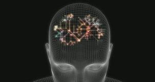Κεφάλι τεχνητής νοημοσύνης σε μια ψηφιακή τέχνη υποβάθρου απόθεμα βίντεο