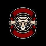 Κεφάλι τιγρών με κορδελλών το διανυσματικό πρότυπο ύφους λογότυπων εμβλημάτων εκλεκτής ποιότητας απεικόνιση αποθεμάτων
