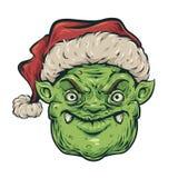 Κεφάλι goblin Χριστουγέννων διανυσματική απεικόνιση