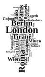 Κεφάλαια στην έννοια σύννεφων λέξης της Ευρώπης Στοκ Εικόνες