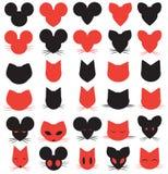 Κεφάλια λογότυπων σκιαγραφιών γατών, ποντικιών και αρουραίων Στοκ Φωτογραφία