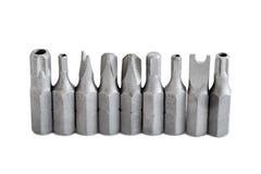Κεφάλια τρυπανιών κατσαβιδιών ασφάλειας σε μια σειρά Στοκ Εικόνες