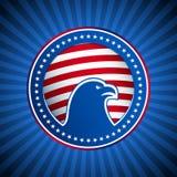 Κεφάλι αμερικανικού Αμερική υποβάθρου αετών σημαιών μεταλλίων Στοκ Φωτογραφία
