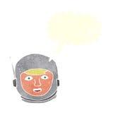 κεφάλι αστροναυτών κινούμενων σχεδίων με τη λεκτική φυσαλίδα Στοκ Φωτογραφίες