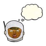 κεφάλι αστροναυτών κινούμενων σχεδίων με τη σκεπτόμενη φυσαλίδα Στοκ Φωτογραφίες