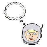 κεφάλι αστροναυτών κινούμενων σχεδίων με τη σκεπτόμενη φυσαλίδα Στοκ φωτογραφία με δικαίωμα ελεύθερης χρήσης