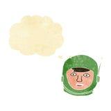 κεφάλι αστροναυτών κινούμενων σχεδίων με τη σκεπτόμενη φυσαλίδα Στοκ Φωτογραφία